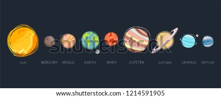 Collection of planets in solar system. Planets of the solar system, planetary system, solar system vector illustration.