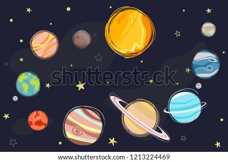 Collection of planets in solar system. Planets of the solar system, planetary system, vector illustration.