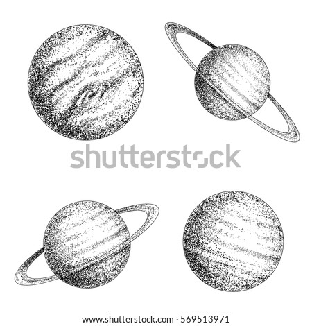 Collection of planets solar system. Dotwork.Engraving style