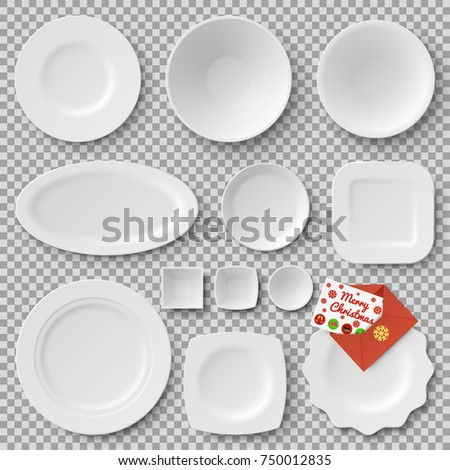 Collection of plates of different shapes and letter with merry Christmas, image of snowflake on vector illustration isolated on transparent background