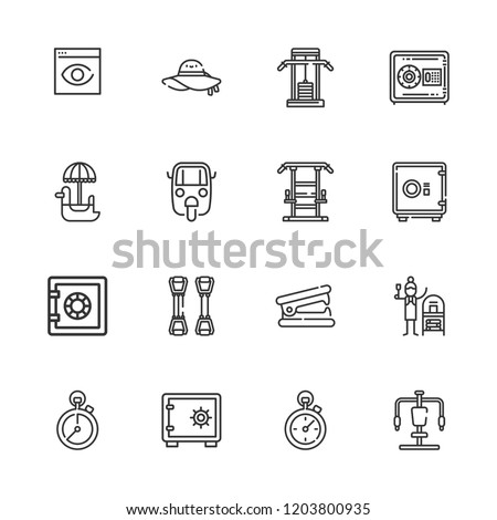 Collection of 16 png outline icons include icons such as safebox, auto ricksaw, browser visualization, pamela, terracotta, stapler remover, gym station, stopclock