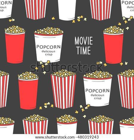 Collection of popcorn hand drawn seamless pattern. Doodle colorful backdrop. Cinema icon and entertainment icon set vector