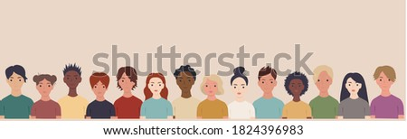 Collection Of Portraits People Border, Vector Illustration