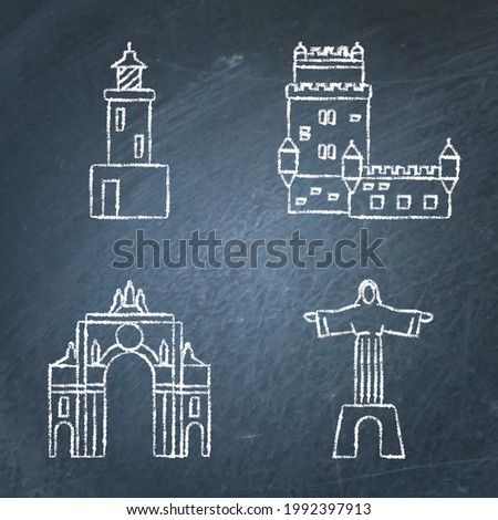 Collection of Portugal icons on chalkboard. Architecture symbols set including Belem tower, rua Augusta arch, lighthouse and Christ statue. Vector illustration. Foto stock ©