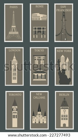 Collection of postage stamps with famous cities. Vector illustration ストックフォト ©
