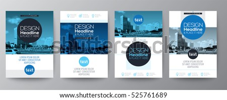 collection of poster flyer brochure or annual report cover layout design template with blue circle shape graphic elements and space for photo background