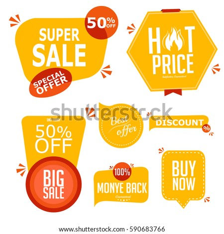 Collection of premium promo seals stickers. Isolated vector illustration.