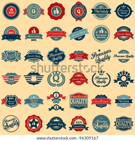 Collection of Premium Quality and Guarantee Labels retro vintage style design. 100% Premium Quality Guarantee vector sign set.