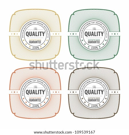 Collection of Premium Quality and Guarantee Labels with retro vintage style design