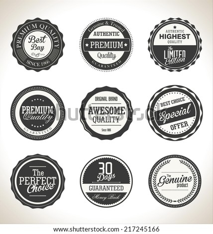 Collection of Premium Quality and Guarantee retro Labels