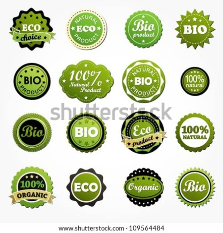 Collection of premium quality bio product labels