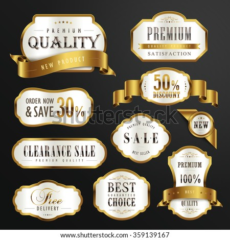 collection of premium quality golden labels design set