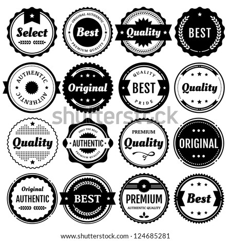 Collection of premium vector badges & packaging labels.Styles include modern,retro, clean, & classic. Isolated design elements includes typography for Quality,Authentic, Best,Original, & Select.Eps10.