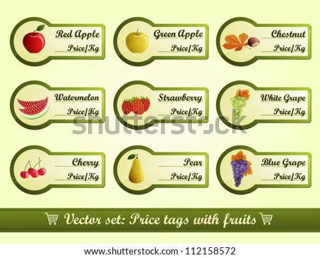 Collection of price tags with fruits