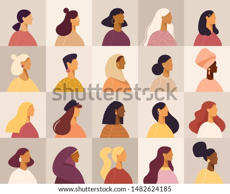 Collection of profile portraits or heads of female cartoon characters. Various nationality. Blonde, brunette, redhead, african american, asian, muslim, european. Set of avatars. Vector, flat design