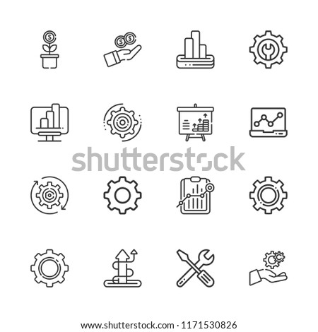 Collection of 16 progress outline icons include icons such as settings, gear, analytics, bar chart, cogwheel #1171530826