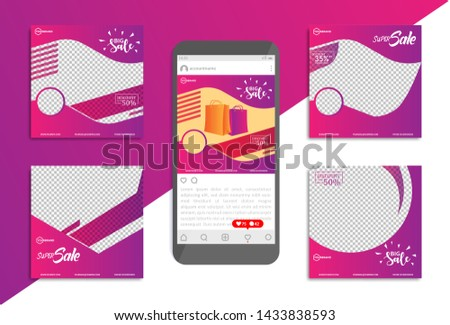 Collection of promotional templates for social media with a minimalist modern style. sales template, promotion template. Eps10.