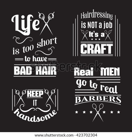 Collection of quote typographical background about hair and barber with illustration of vintage scissors. Vector template for poster business card banner and t-shirt