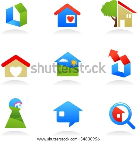 collection of real estate icons - stock vector