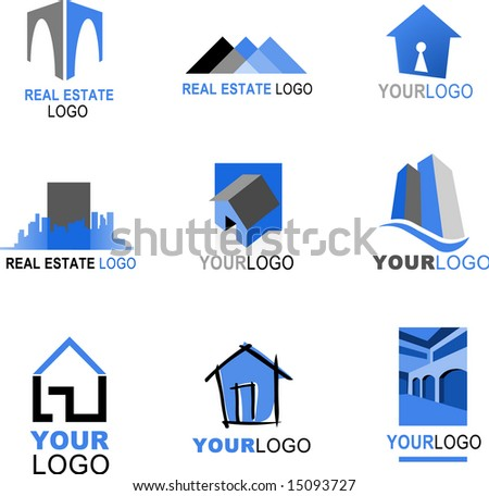 collection of real estate icons, blue and black color - stock vector