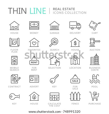 Collection of real estate thin line icons