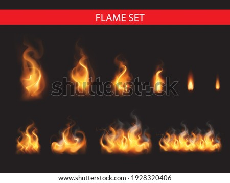 Collection of realistic fire flames Foto stock ©