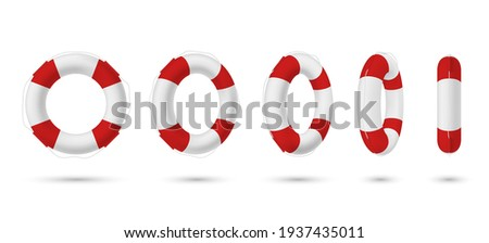 Collection of realistic lifebuoy striped circle with shadow vector isometric illustration. Set of various perspectives rescue life belt isolated on white. Survival ring marine equipment lifeline Stockfoto ©