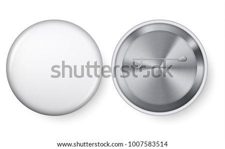 Collection of realistic pin buttons. White blank badge pin brooch isolated on white background. 3D vector style. White blank badging round button badge isolated realistic vector template.