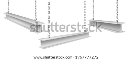 Collection of realistic steel beams on chains vector illustration. Set of straight metal industrial girder pieces hanging for building construction work isolated. Engineering lifting heavy iron balks Stockfoto ©