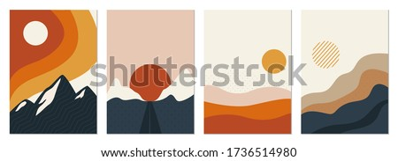 Collection of rectangular abstract landscapes. Sun, mountains, waves. Japanese style. Modern layouts, fashionable colors. Layouts for social networks, banners, posters. vector illustration Stock photo ©