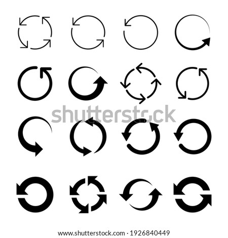 Collection Of Recycle Circle Icons. Set of Refresh Signs. Vector Arrows.
