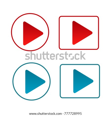 collection of red and blue arrow next sign symbol logo vector isolated background