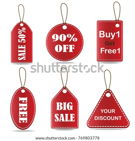 collection of red banners isolated on white background vector design for shopping sale label template,discount,Sale #769803778