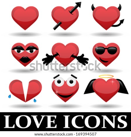 collection of red love heart icons with emotions