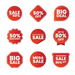 Collection of red promo labels isolated on white vector