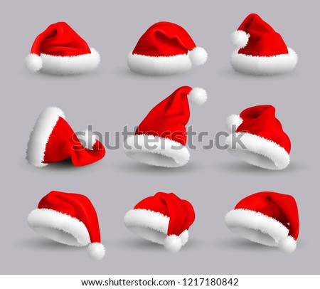collection of red santa claus