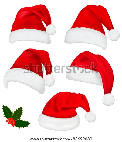 Collection of red santa hats with and Christmas holly Vector.