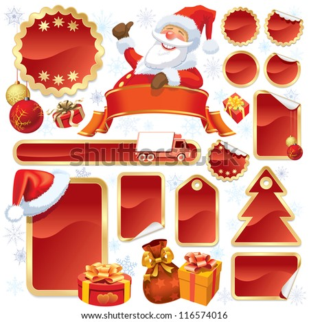 Collection of red stickers and Christmas design elements
