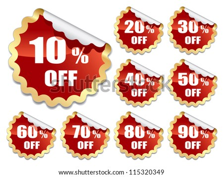 Collection of red stickers on white background