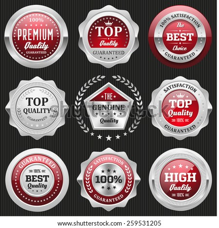 Collection of red top quality badges with silver border