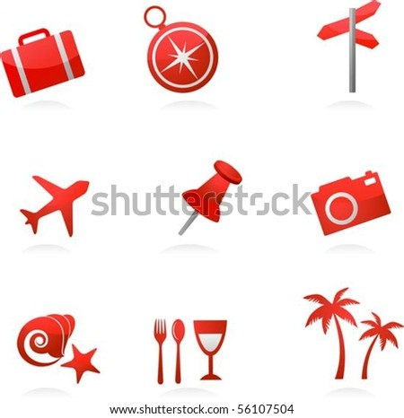 Collection of red tourism and vacation icons