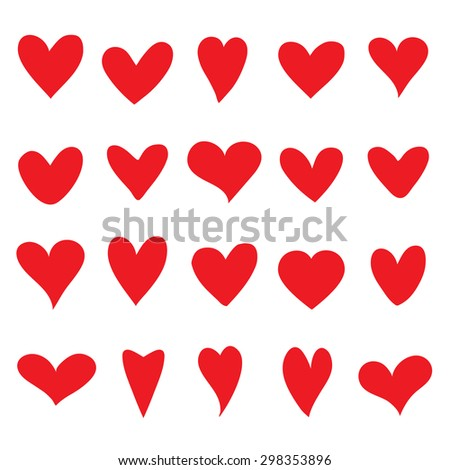 collection of red vector hearts