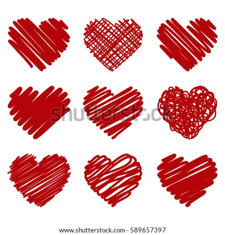 collection of red vector painted heart on white background