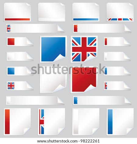 collection of red, white, blue and union jack stickers, squares and tabs