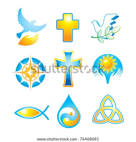 Collection of religious icons, symbols