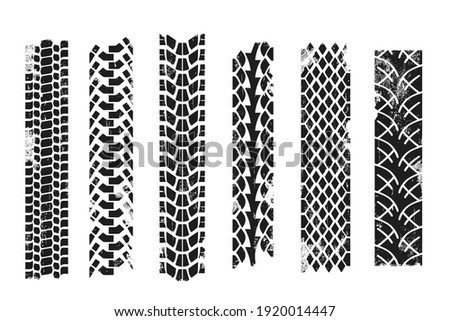 Collection of repeatable tire prints. Grunge effect. Vector illustration. Stock photo ©