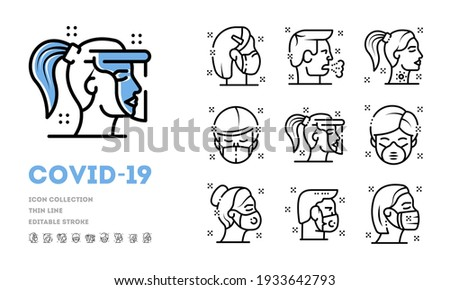 Collection of respiratory illness, cough, high fever, lack of smell. Vector worldwide virus prevention spread, face mask, personal hygiene, social distance idea isolated on white background