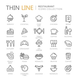 Collection of restaurant thin line icons