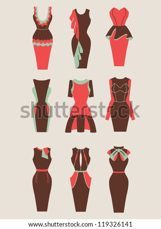 collection of retro and modern woman dresses illustration eps 10