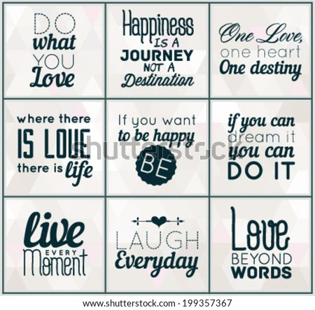 Collection Of Retro Calligraphic Motivational Quotes in Vintage Style #199357367